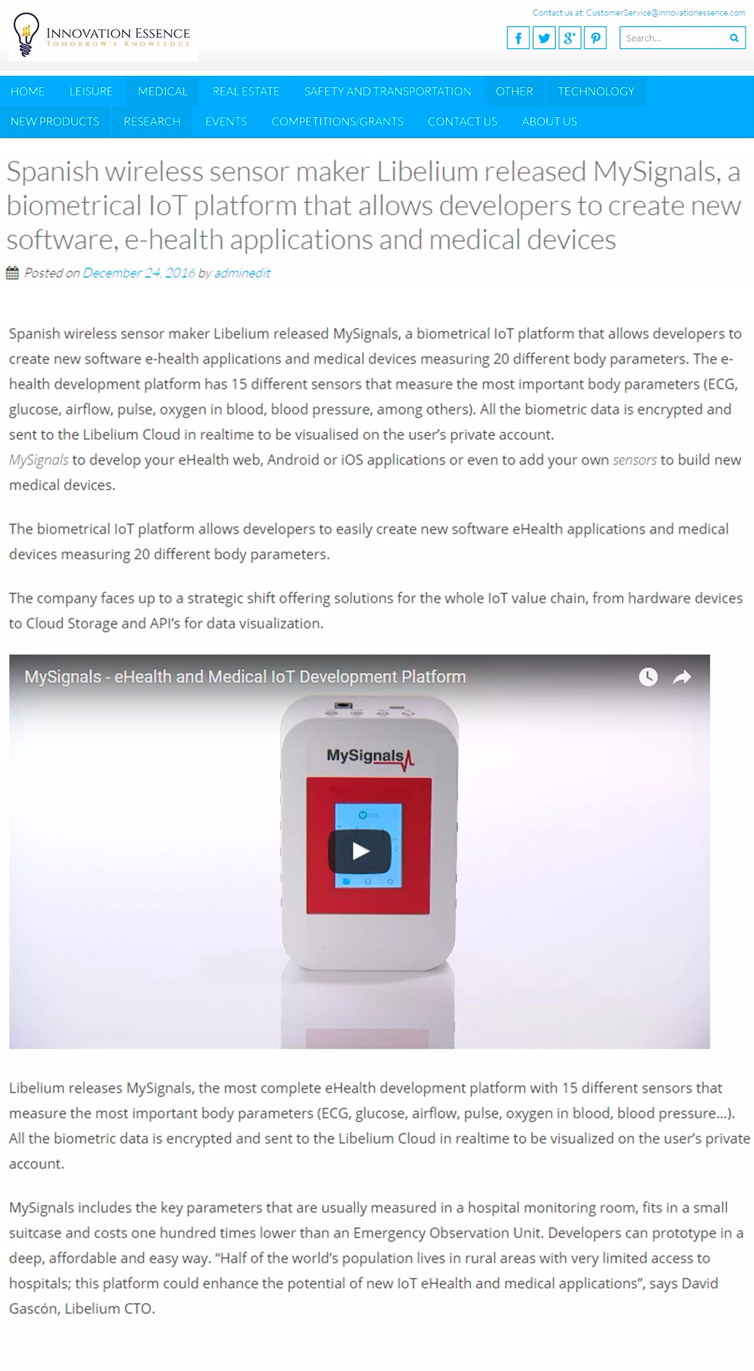 Innovation Essence – Spanish wireless sensor maker Libelium released MySignals