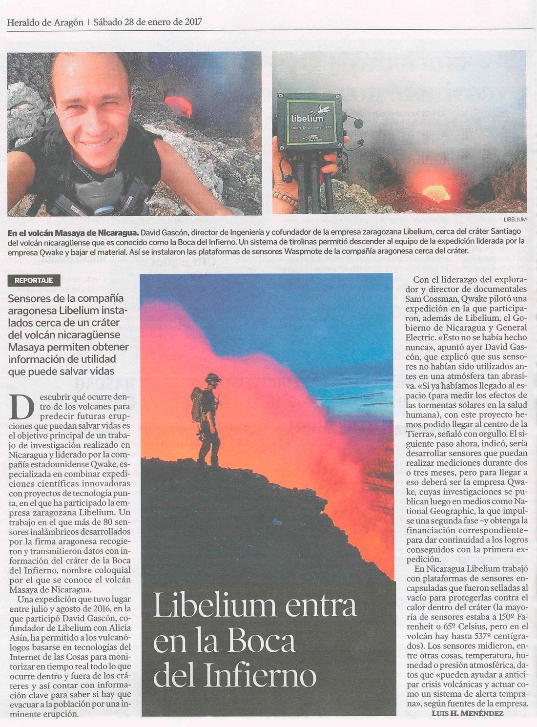 Heraldo de Aragón – Libelium entra en la Boca del Infierno