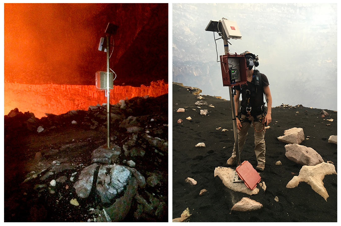 Waspmote Plug & Sense! installed next to Santiago Crater and Meshlium out of Masaya volcano
