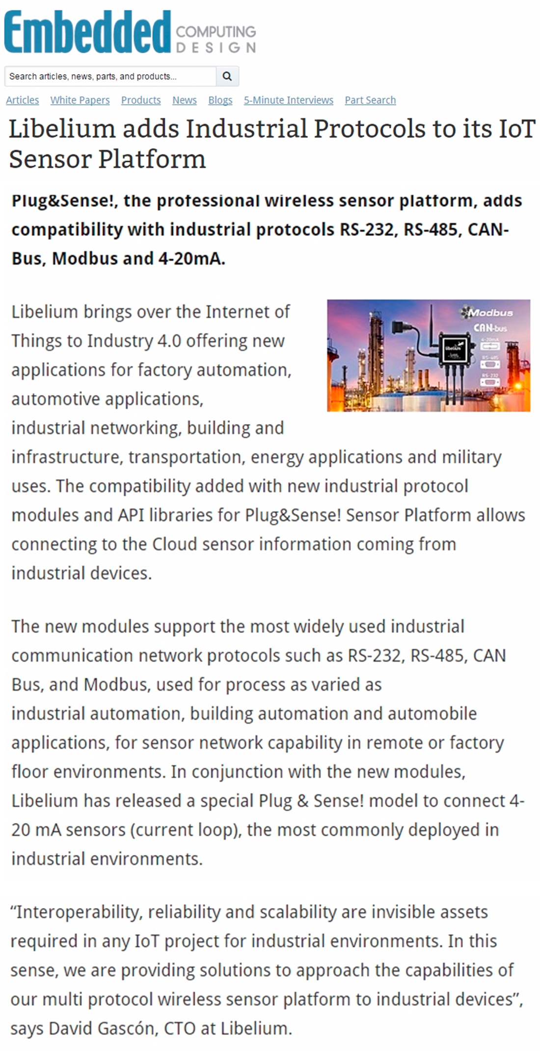 Embedded Computing Design – Libelium adds Industrial Protocols