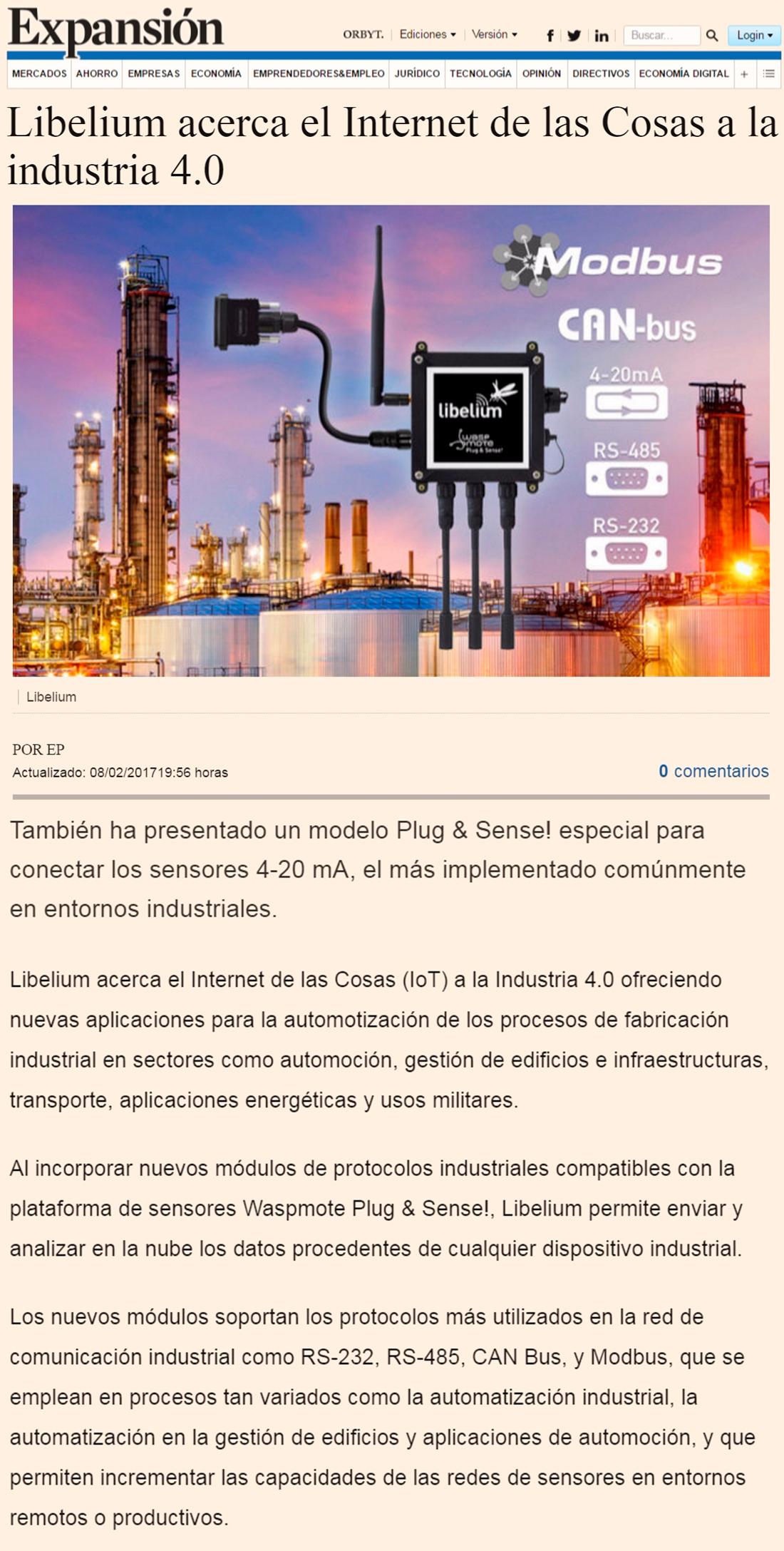 Expansión – Libelium acerca el Internet de las Cosas a la industria 4.0