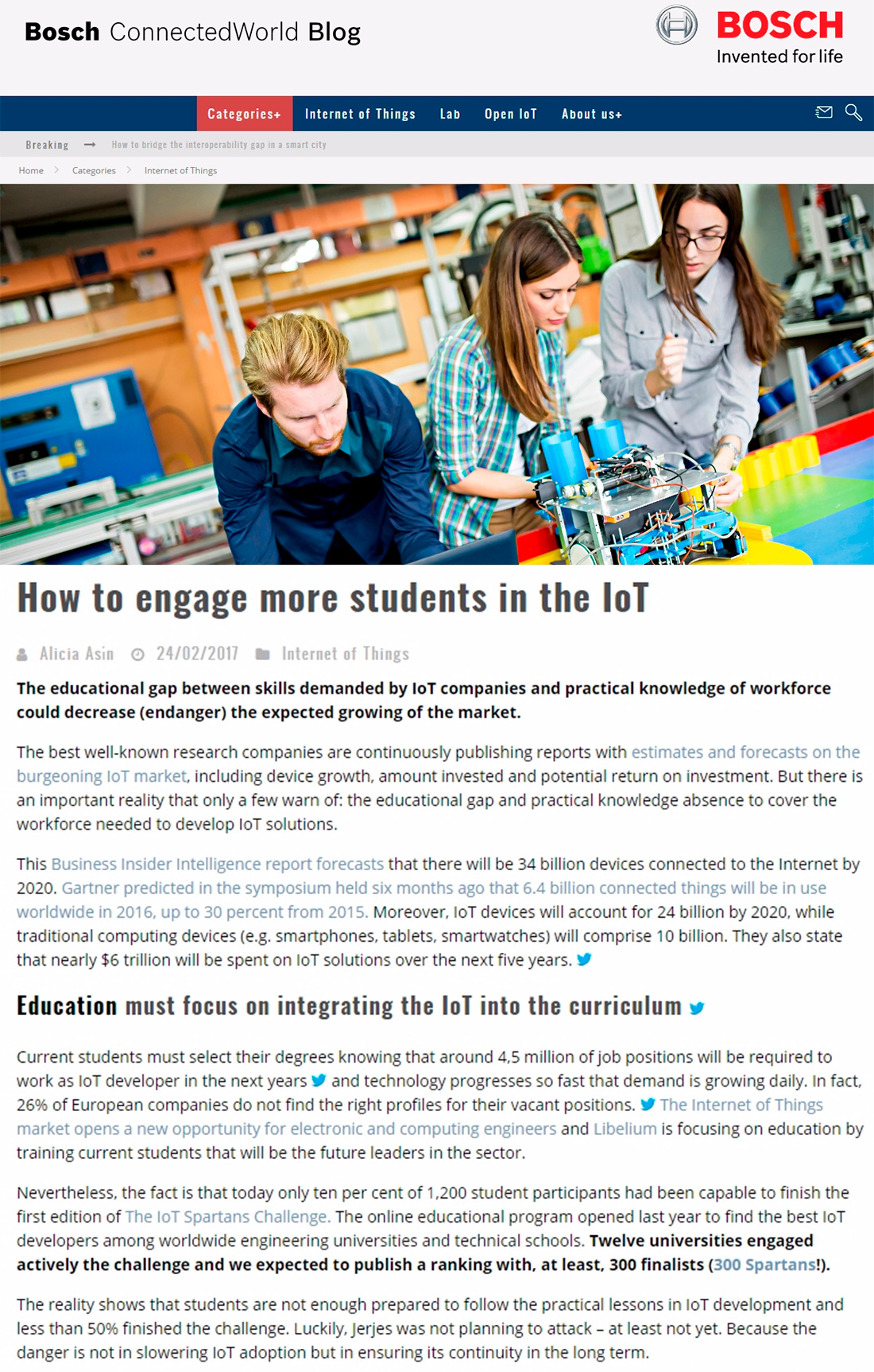 Bosch ConnectedWorld Blog – How to engage more students in the IoT