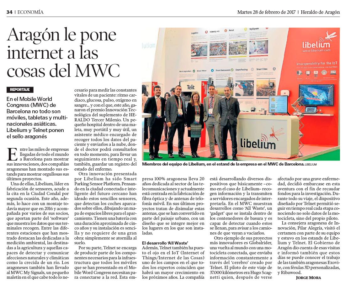 Heraldo de Aragón – Aragón le pone internet a las cosas del MWC