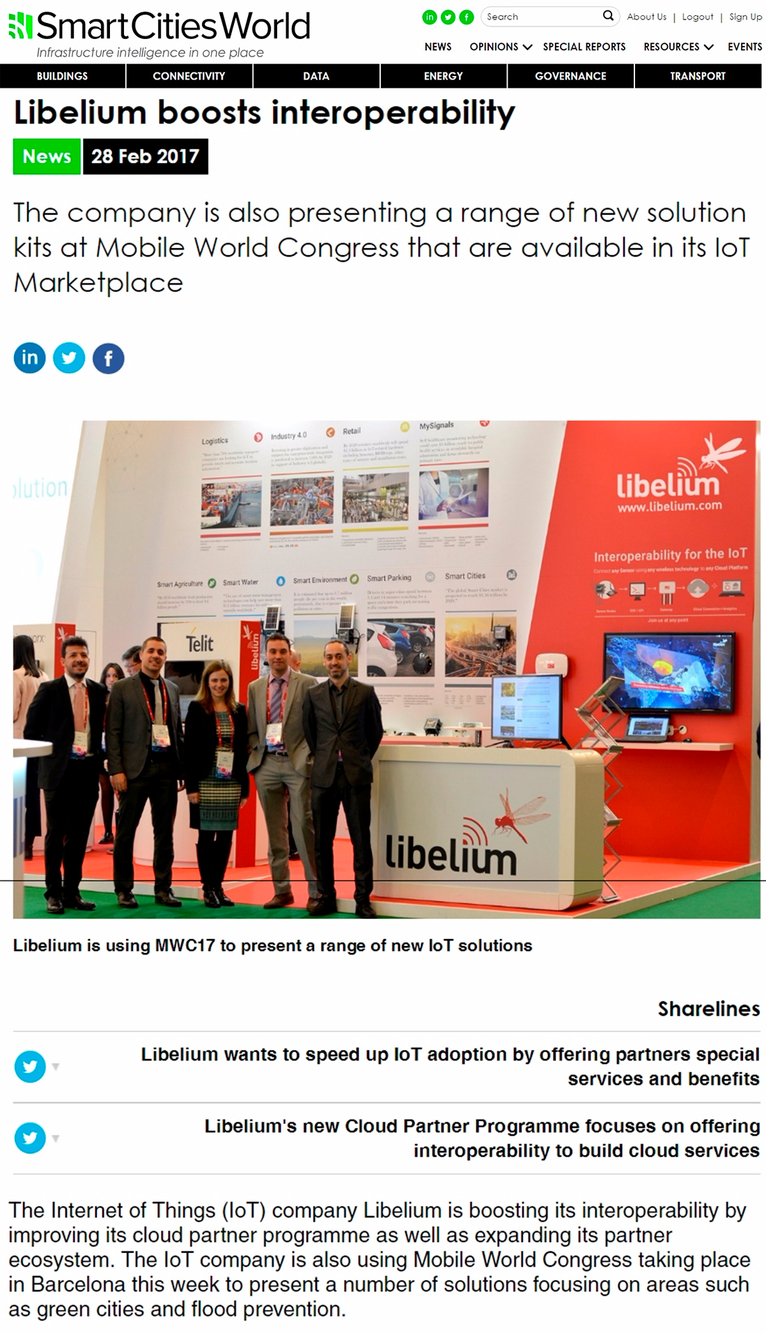 Smart Cities World – Libelium boosts interoperability