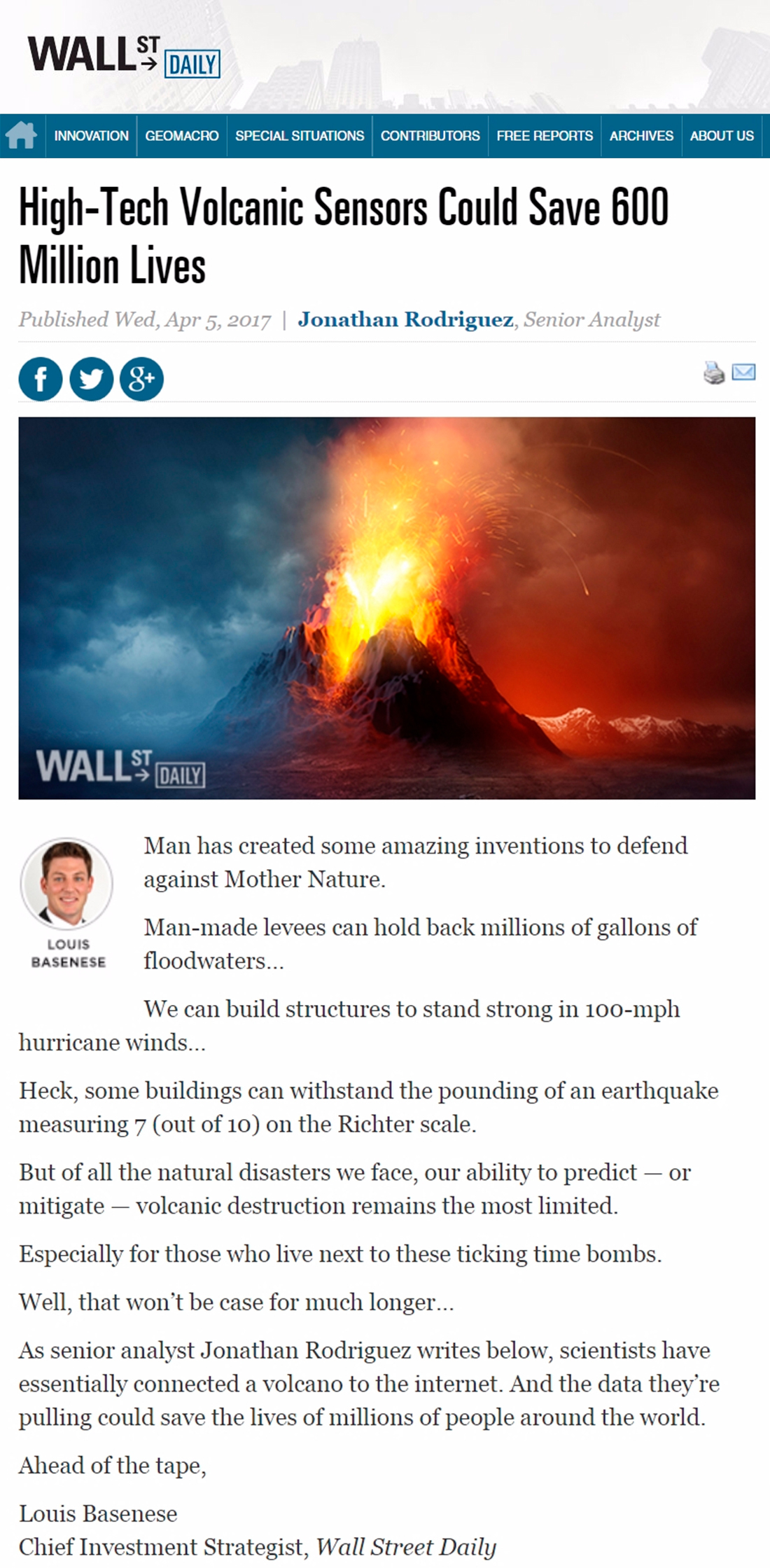 Wall Street Daily – High-Tech Volcanic Sensors
