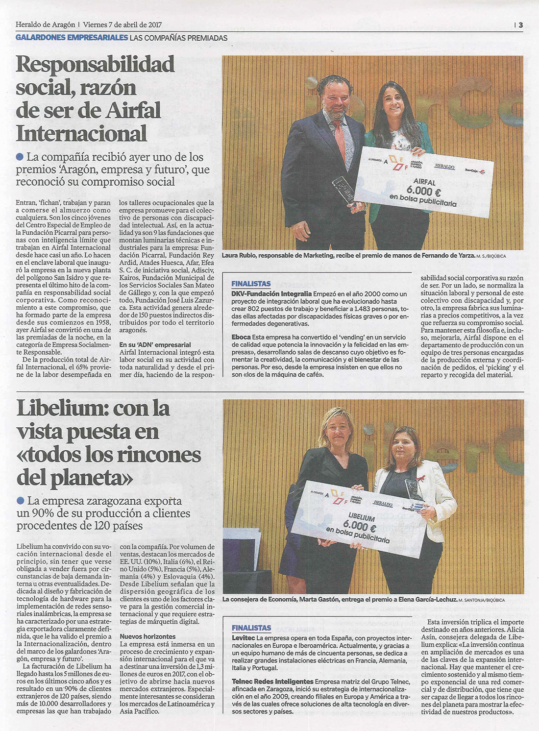 Heraldo de Aragón – Premios 'Aragón, Empresa y Futuro'