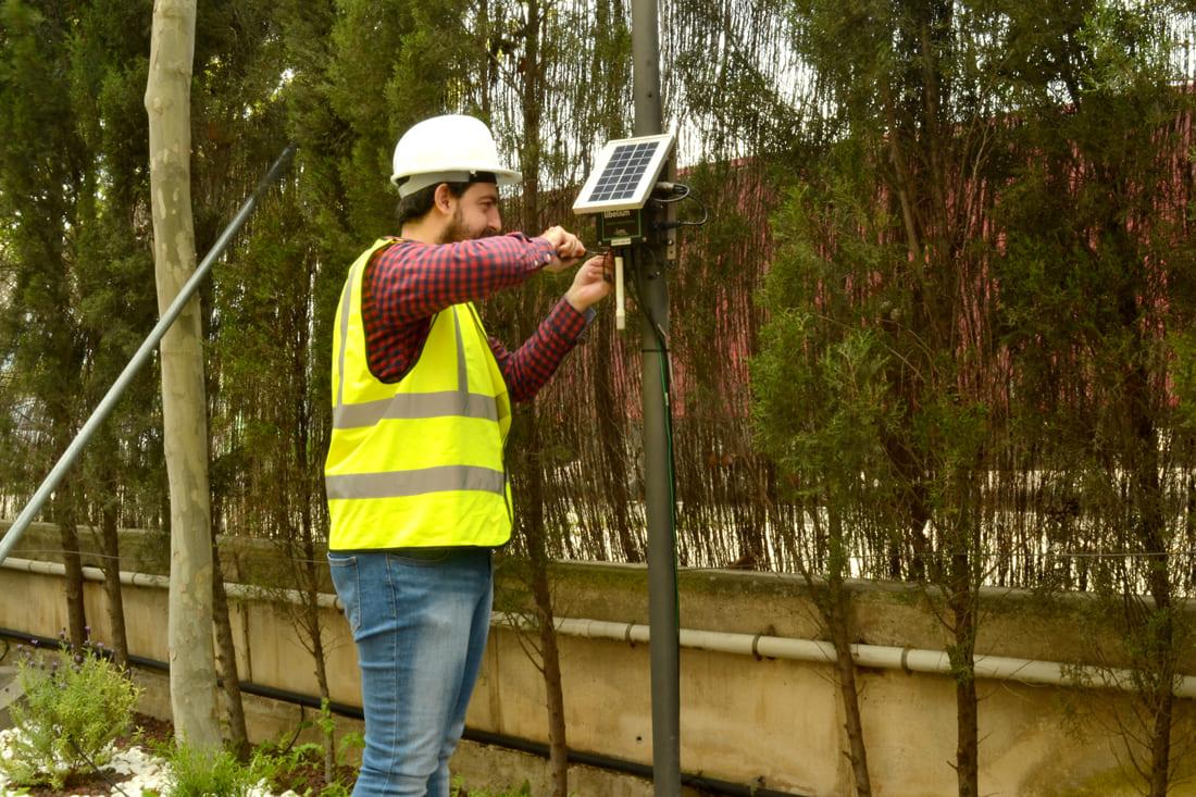 One of Libelium technicians installing the Waspmote Plug & Sense! Sensor Platform