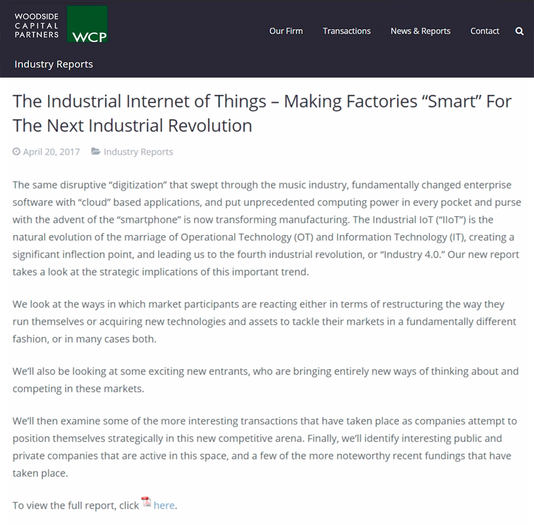 Woodside Capital Partners – The Industrial Internet of Things