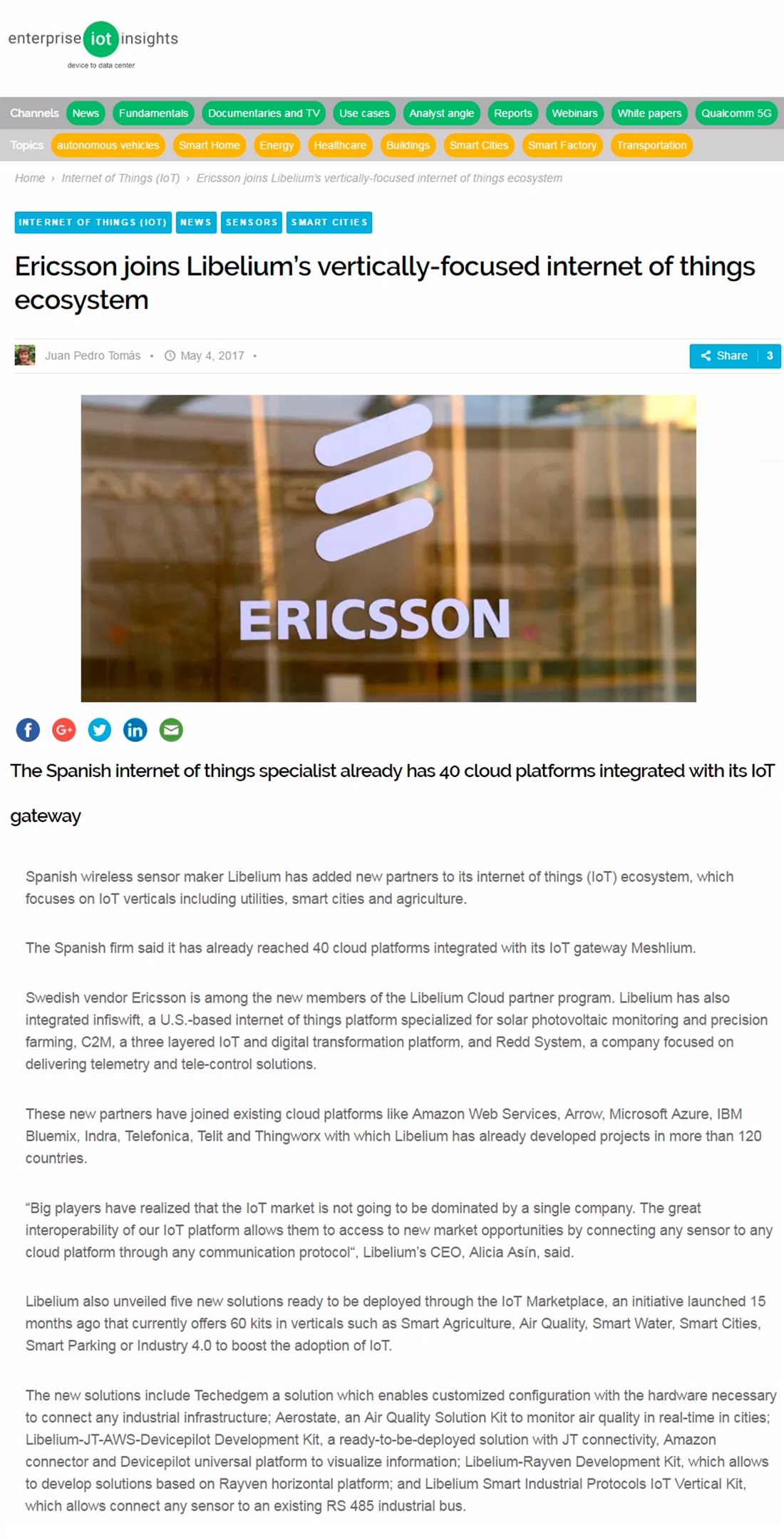 Enterprise IoT Insights – Ericsson joins Libelium's ecosystem