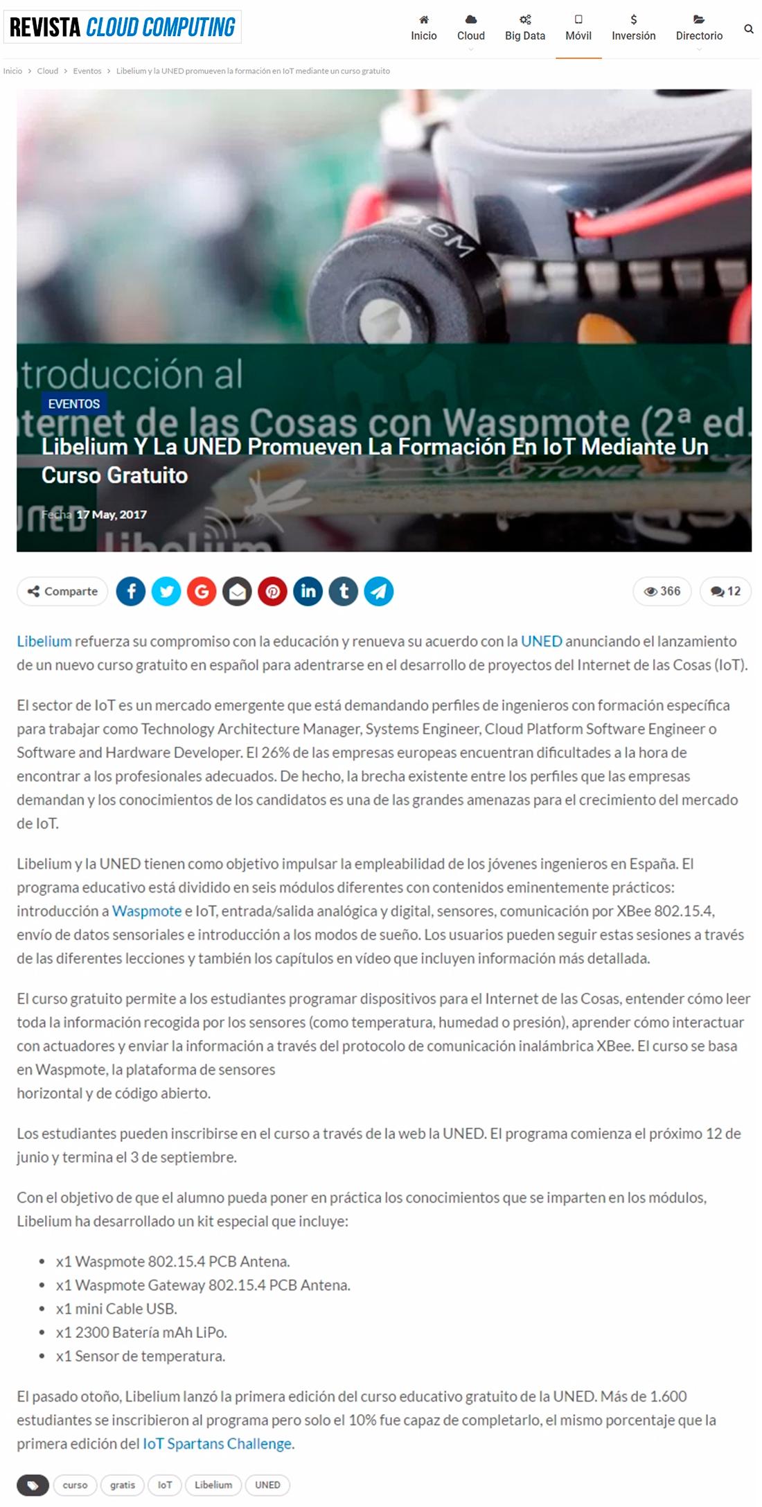 Revista Cloud Computing – Libelium Y La UNED Promueven La Formación En IoT