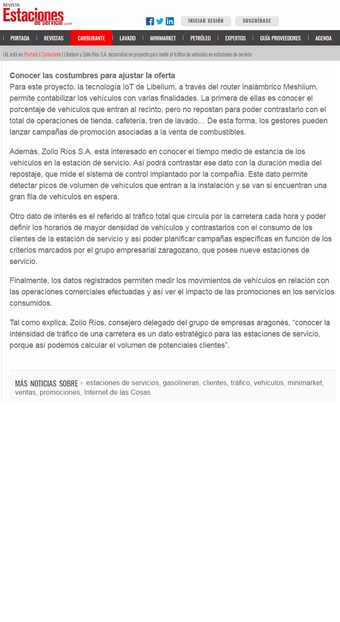 Revista Estaciones de Servicio – Libelium y Zoilo Ríos S.A.