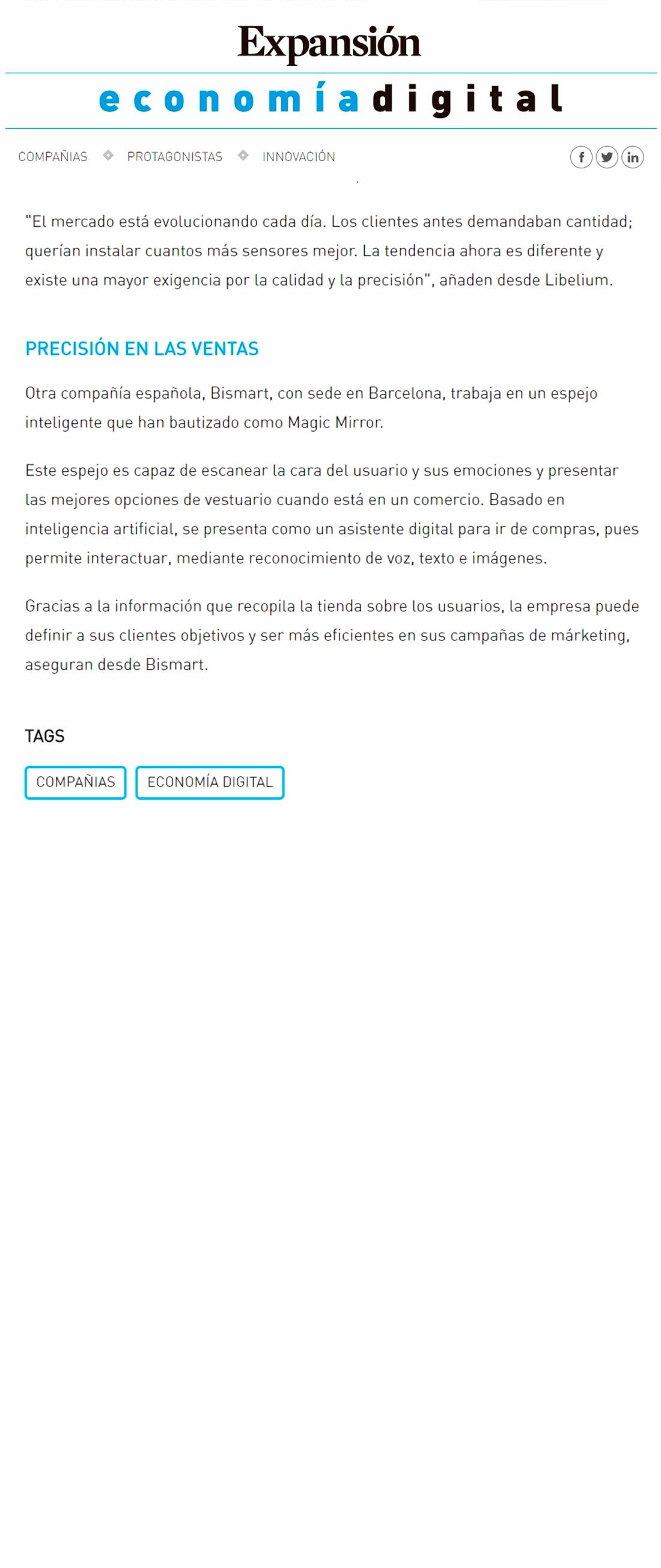 Expansión – Internet de las Cosas con sello 'made in Spain'