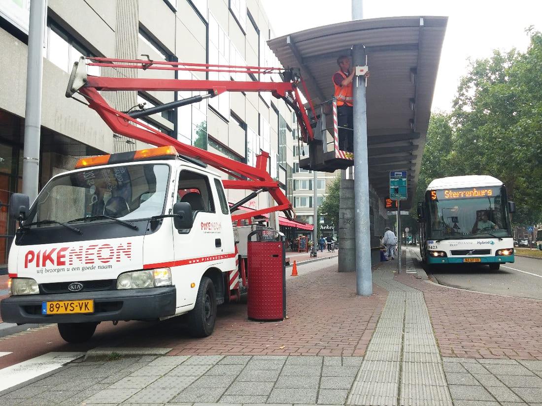 Meshlium IoT Gateway being installed at a bus stop