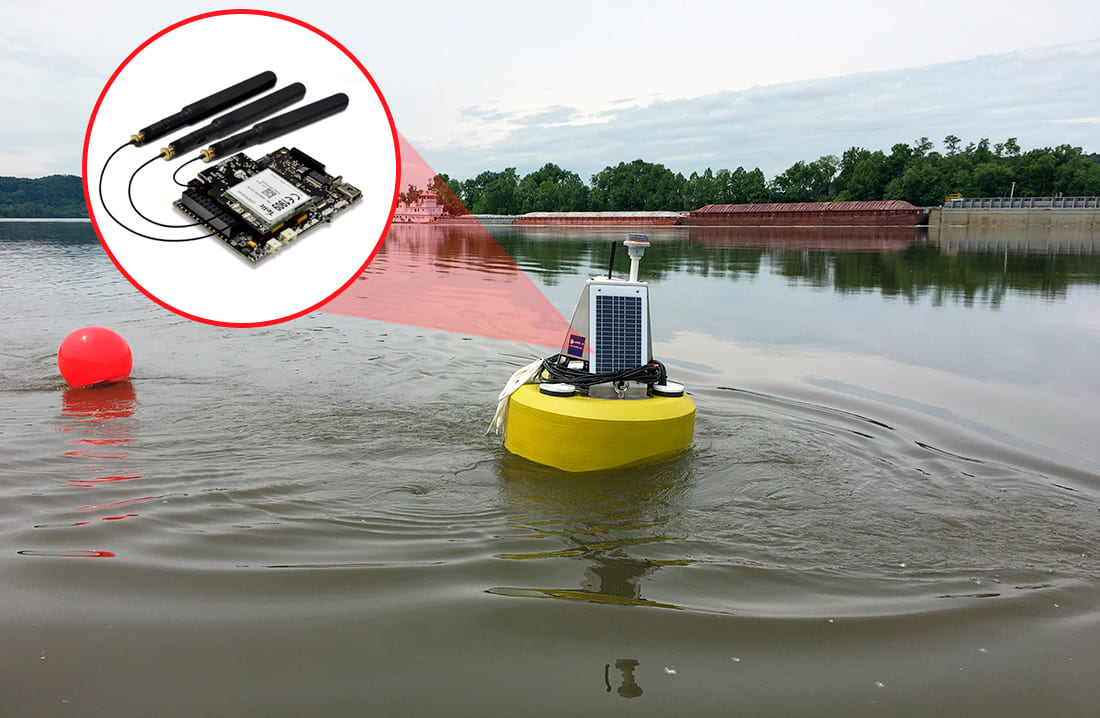 Terralytix Edge Buoy deployed in the Ohio river, powered by Waspmote IoT Core