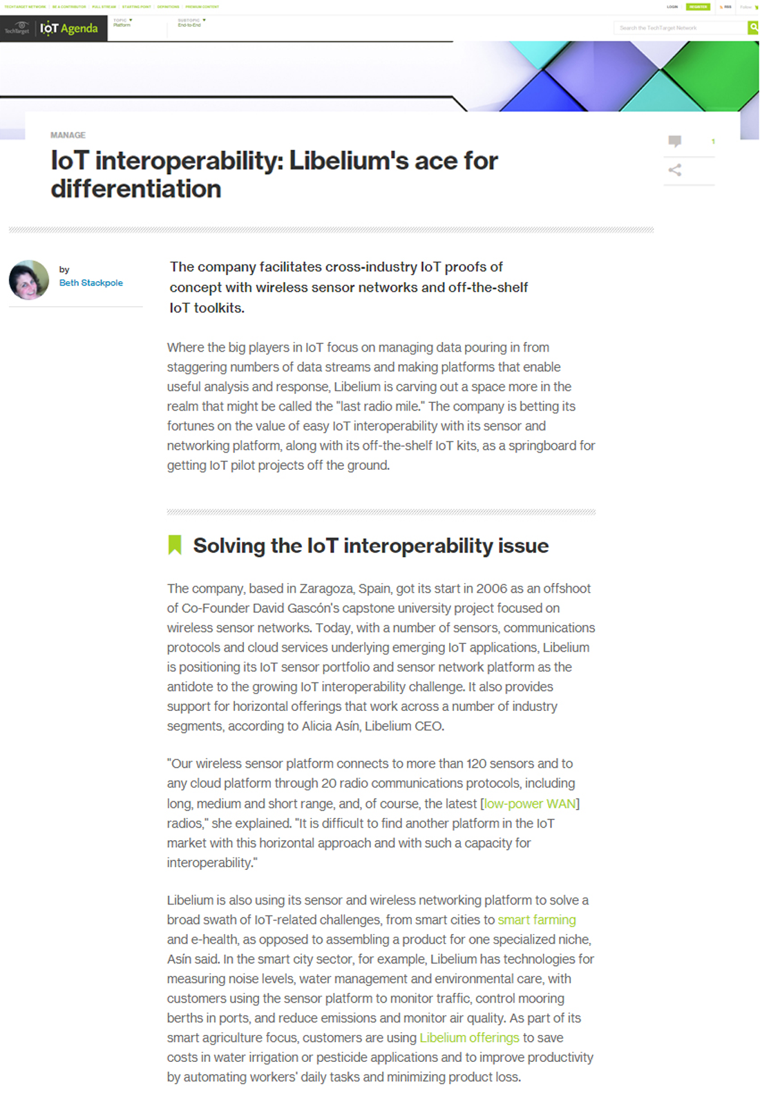 IoT Agenda – IoT interoperability: Libelium's ace for differentiation
