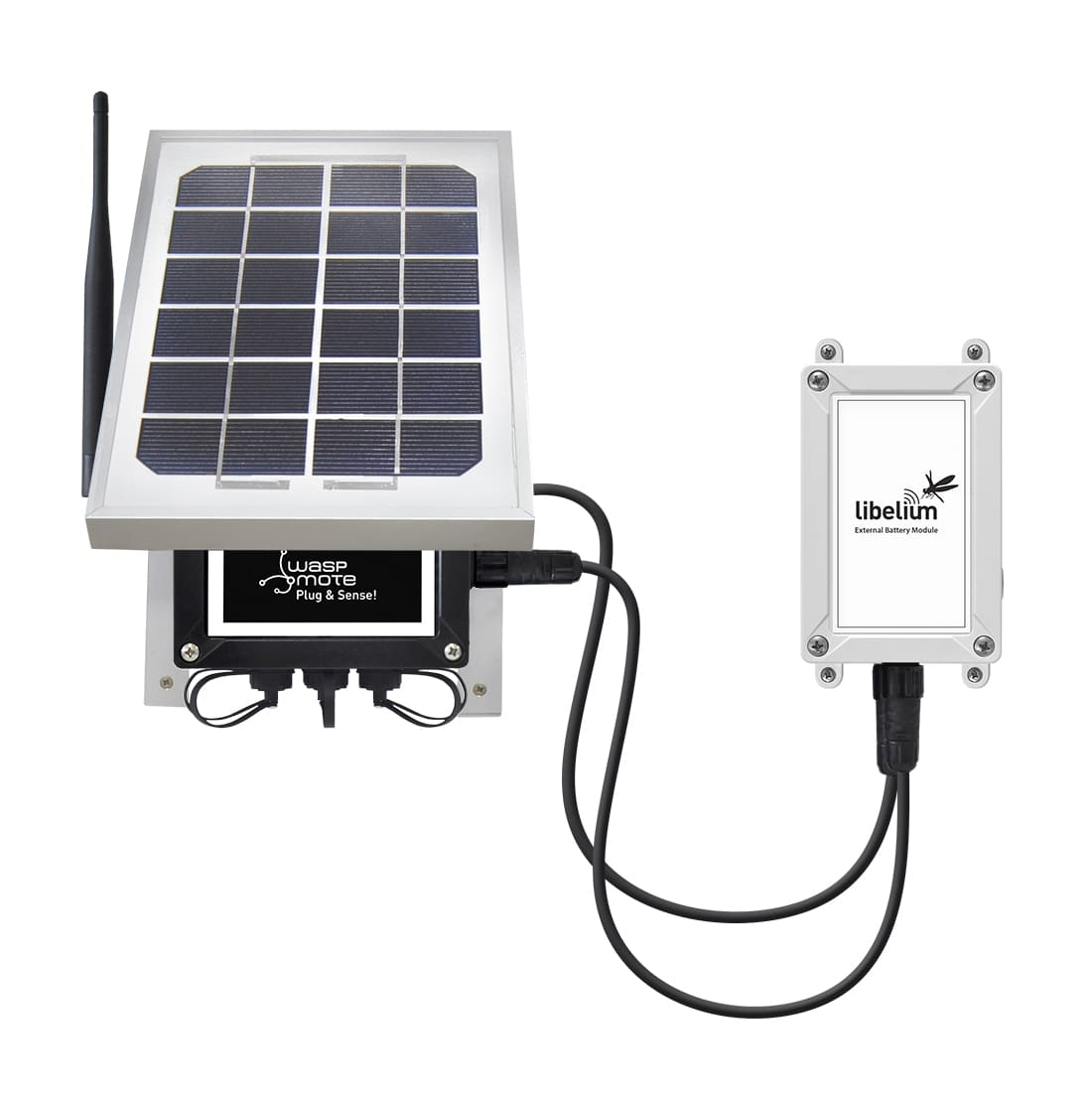 Plug & Sense! with External Battery Module and solar panel