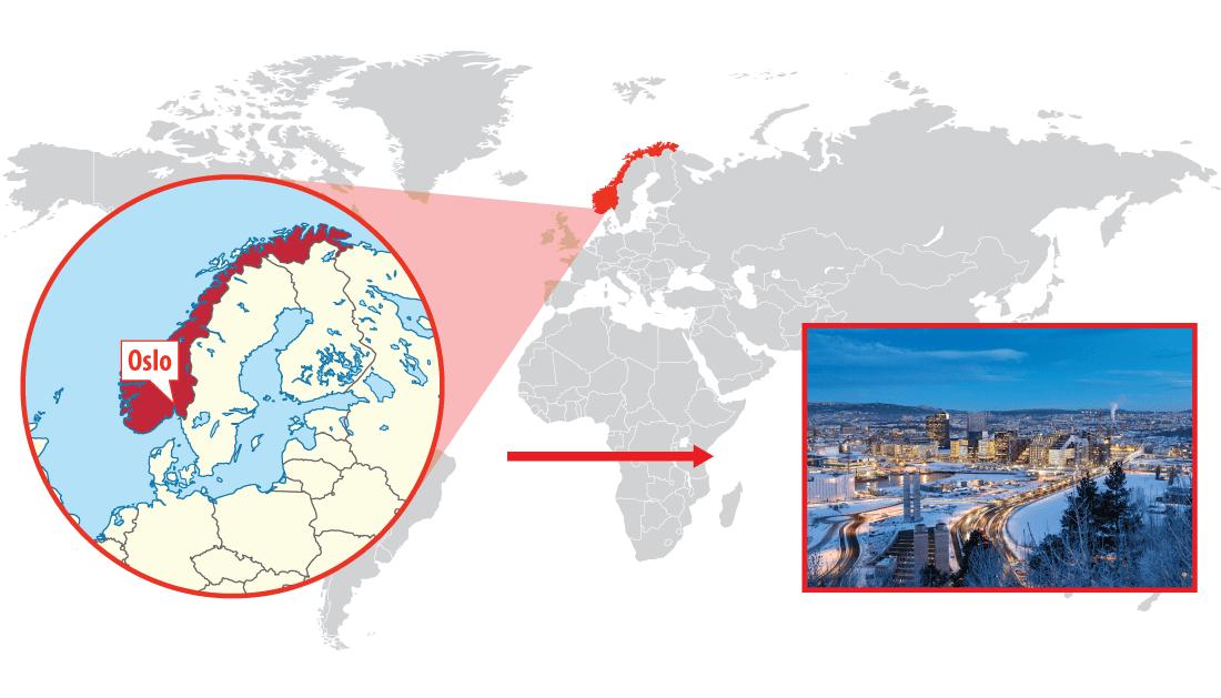 Location of Oslo, Norway