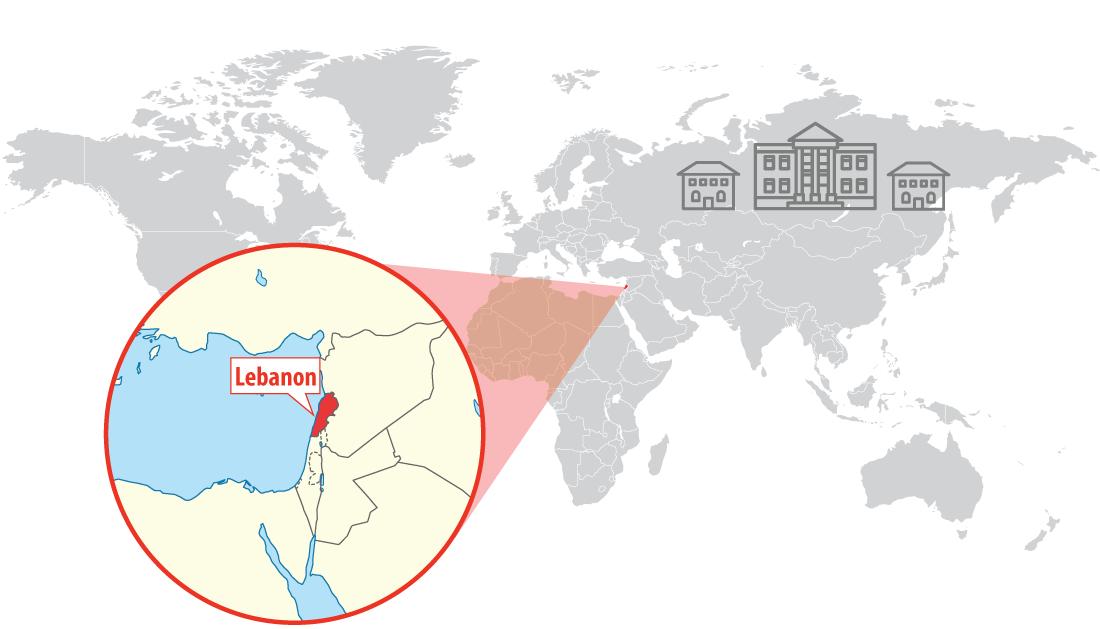 Location of Lebanon