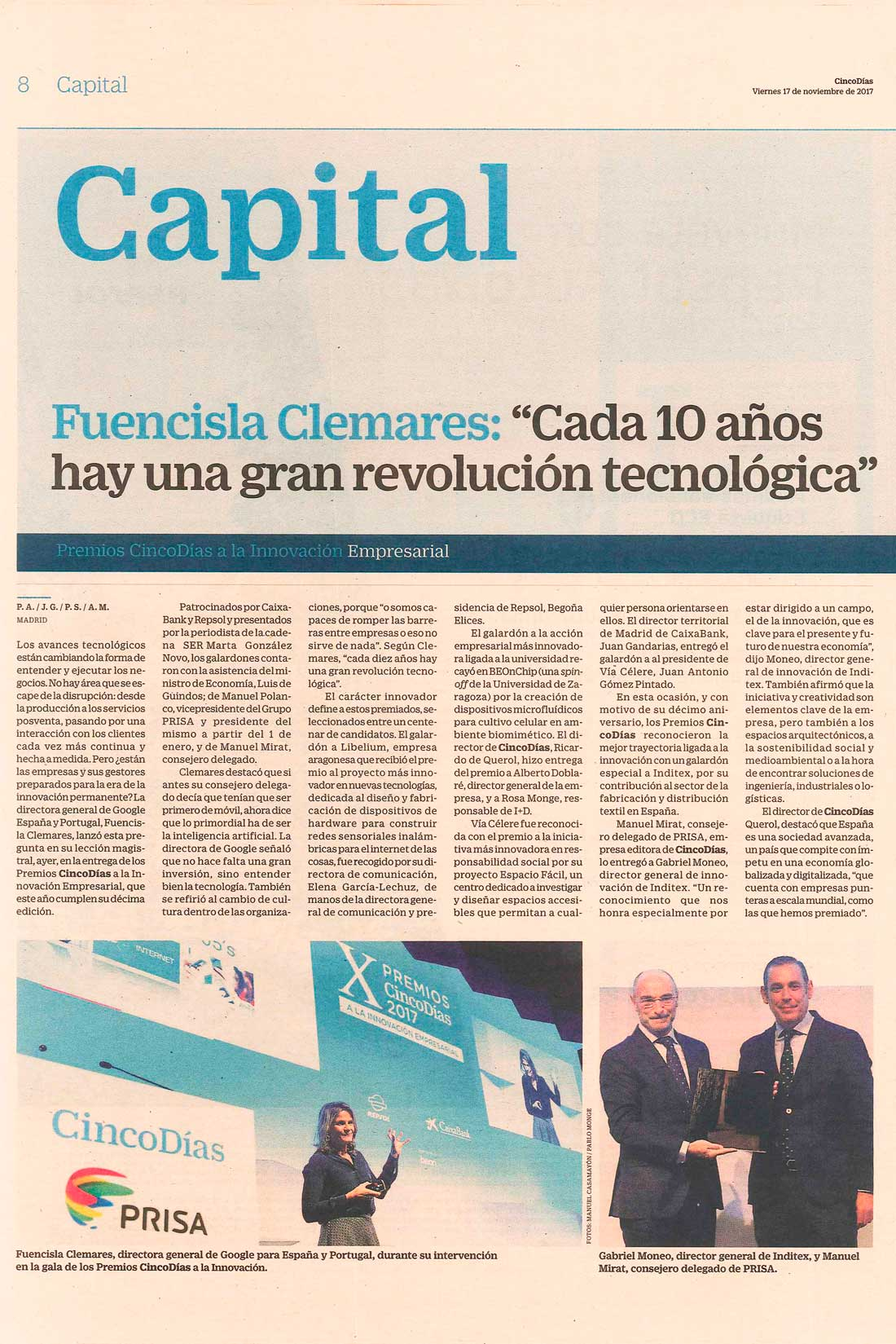 "Cinco Días – Libelium receives Cinco Días Award to ""the Most Innovative Business Project in New Technologies"""