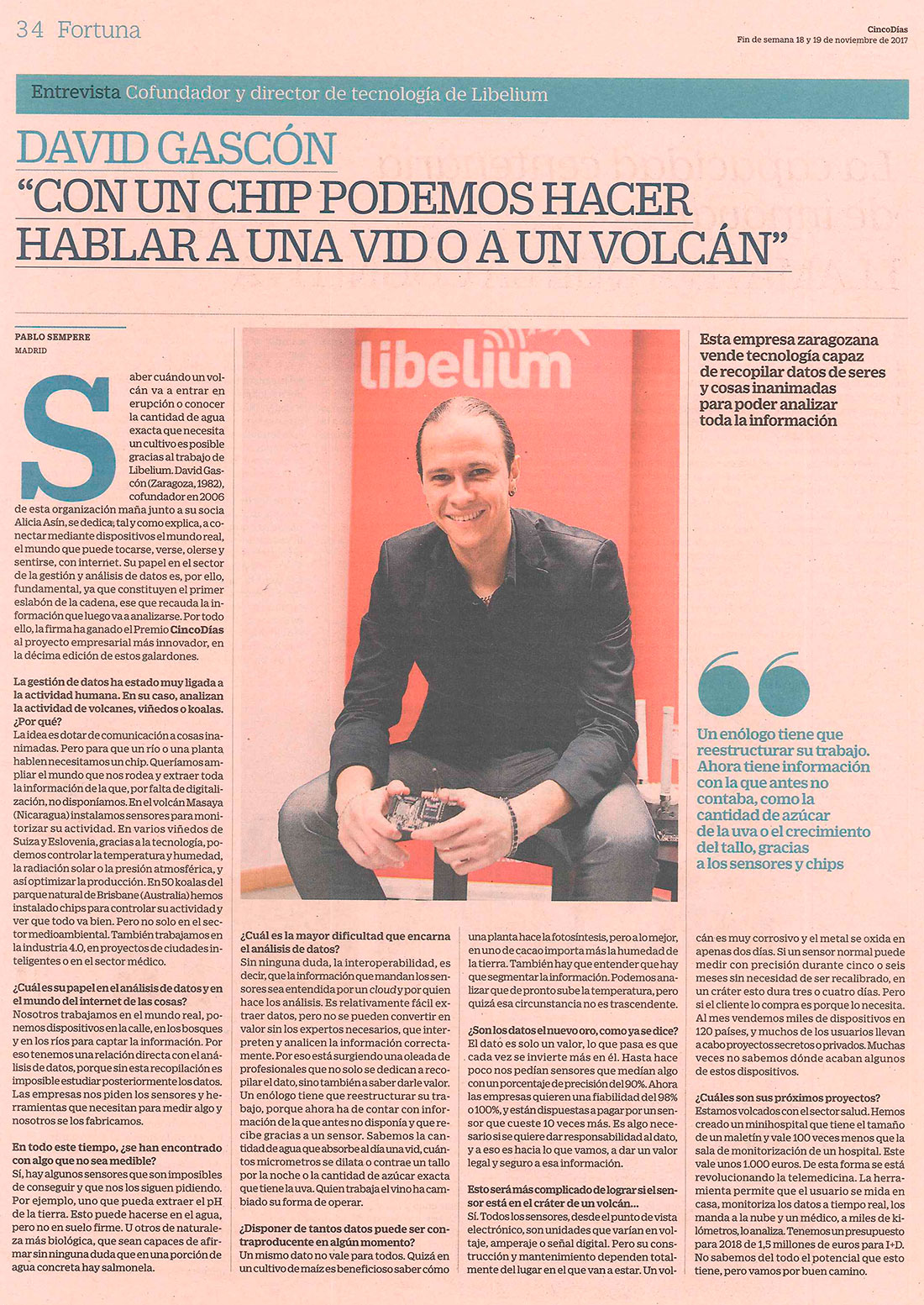 """Cinco Días – David Gascón: """"Con un chip podemos hacer hablar a una vid o a un volcán"""""""