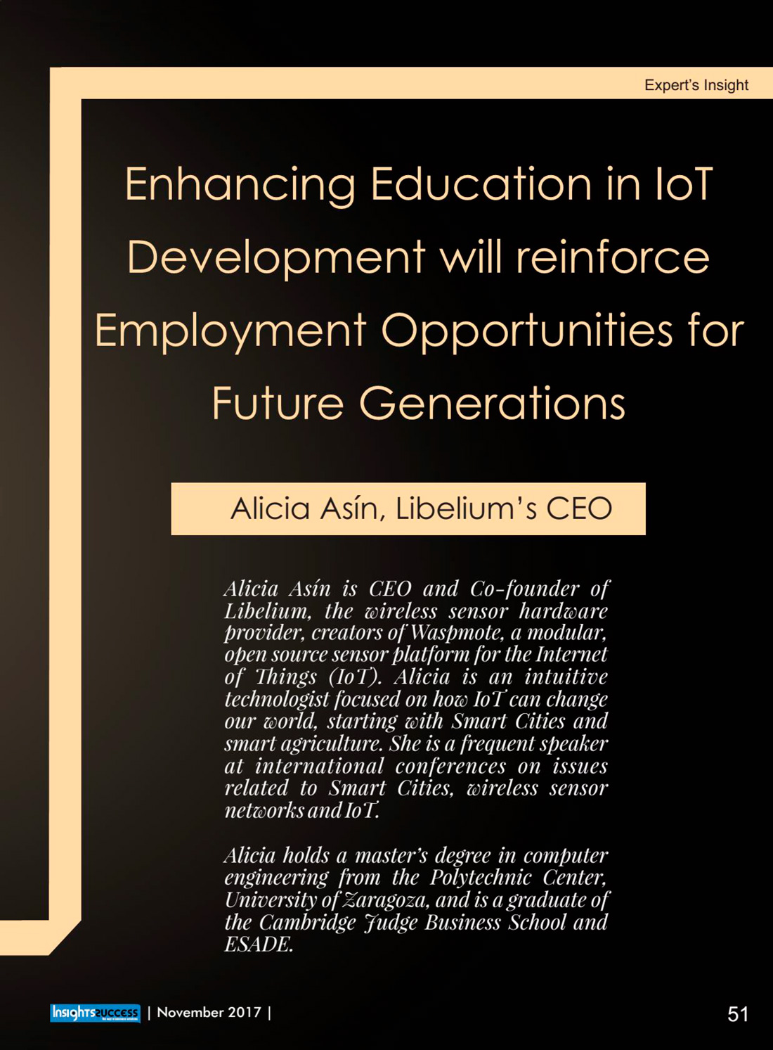 Insights Success – Enhancing Education in IoT Development will Reinforce Employment Opportunigies for Future Generations
