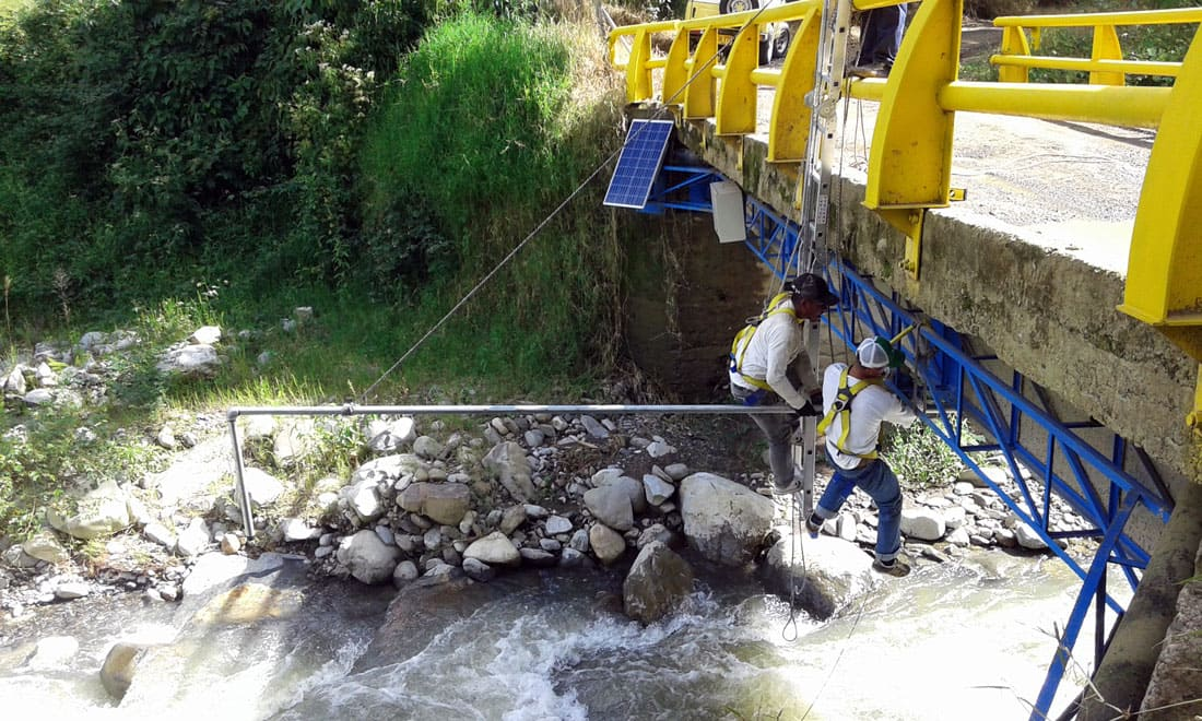 Installation of Plug & Sense! under the bridge
