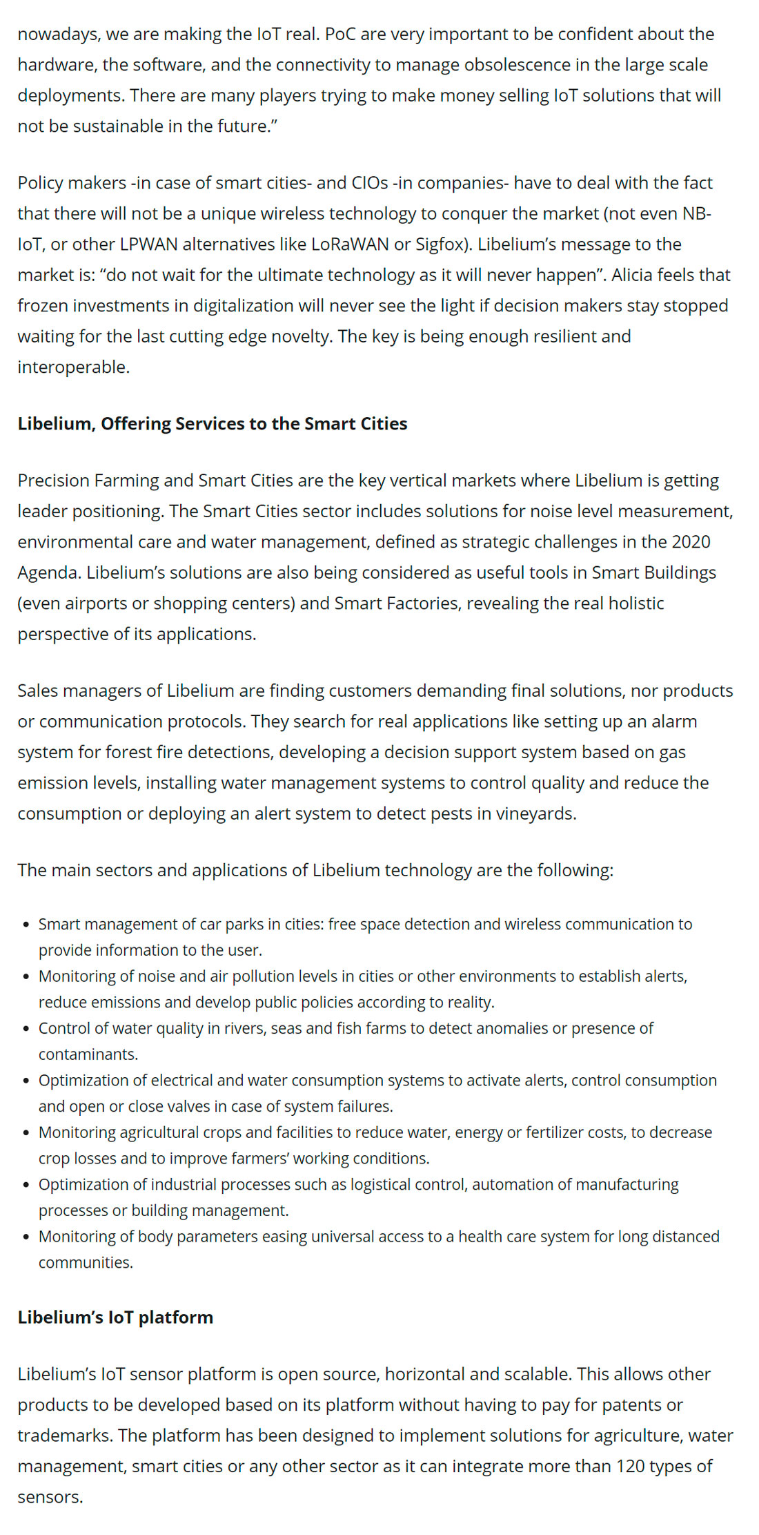 Libelium: A Global Leader in Precision Farming and Smart Cities