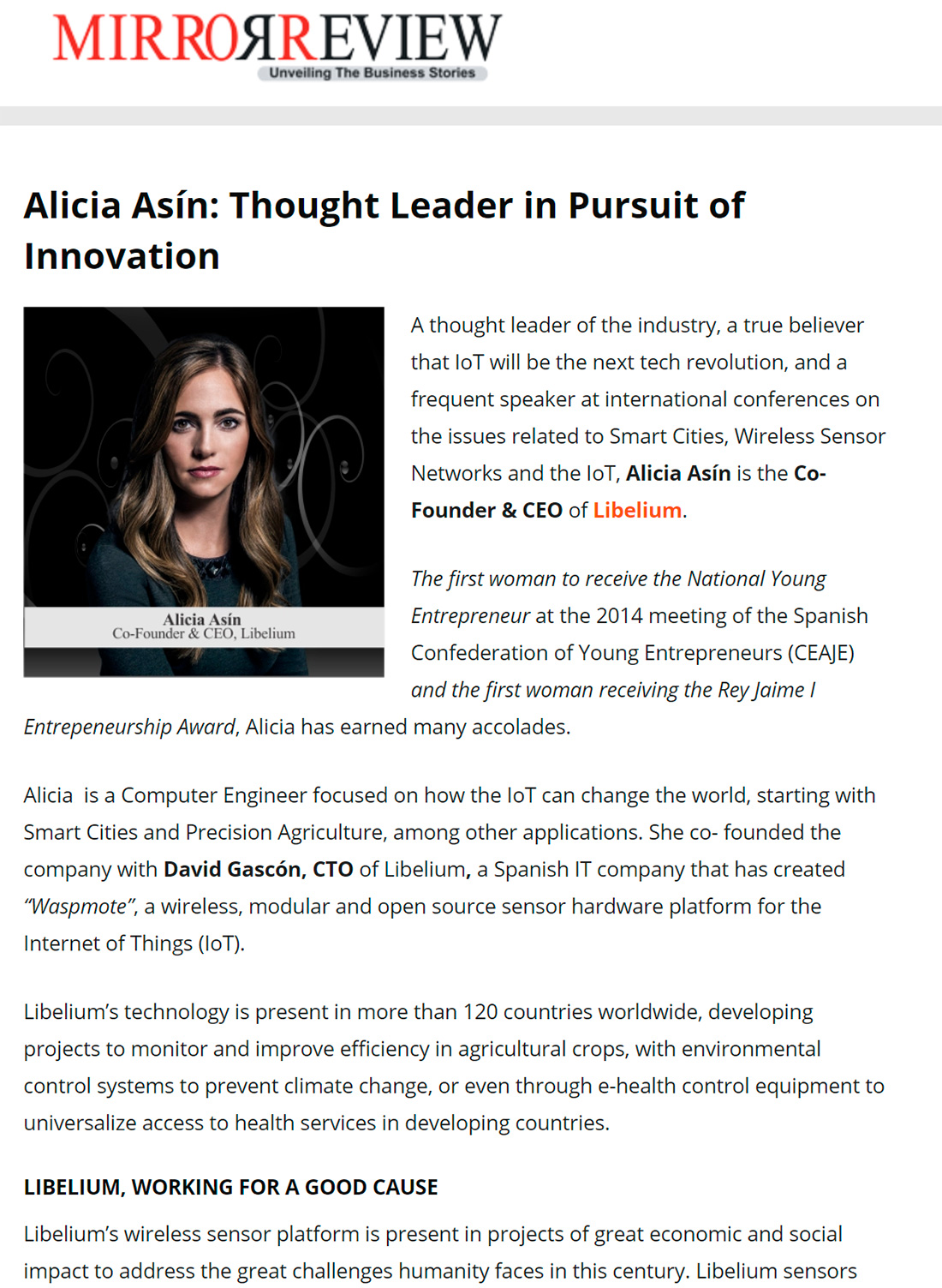 Alicia Asín: Thought Leader in Pursuit of Innovation