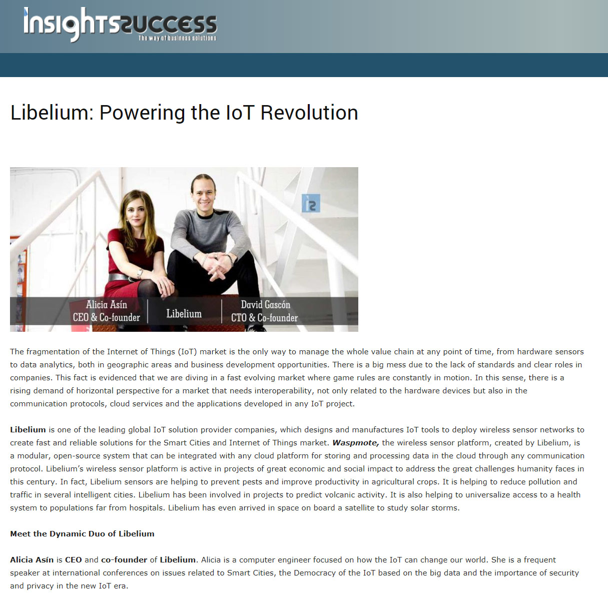 Insights Success – Libelium: Powering the IoT Revolution