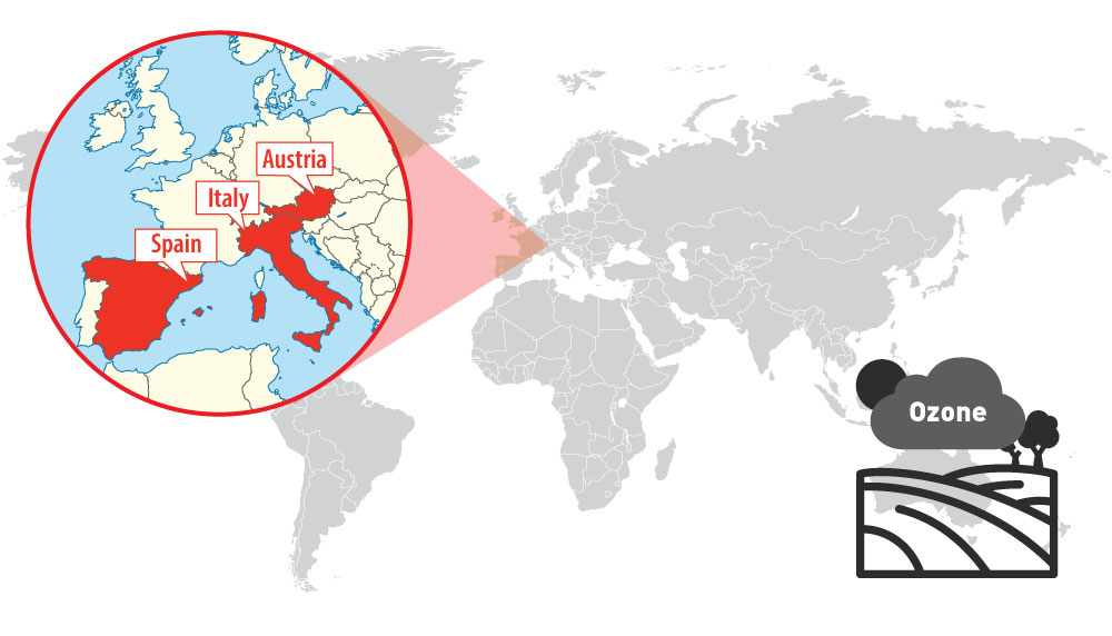 Location of Spain, Italy and Austria