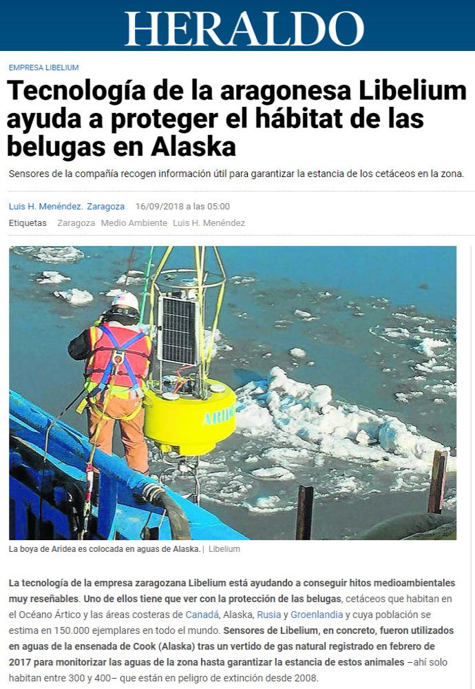 Heraldo de Aragón – Tecnología de la aragonesa Libelium ayuda a proteger el hábitat de las belugas en Alaska