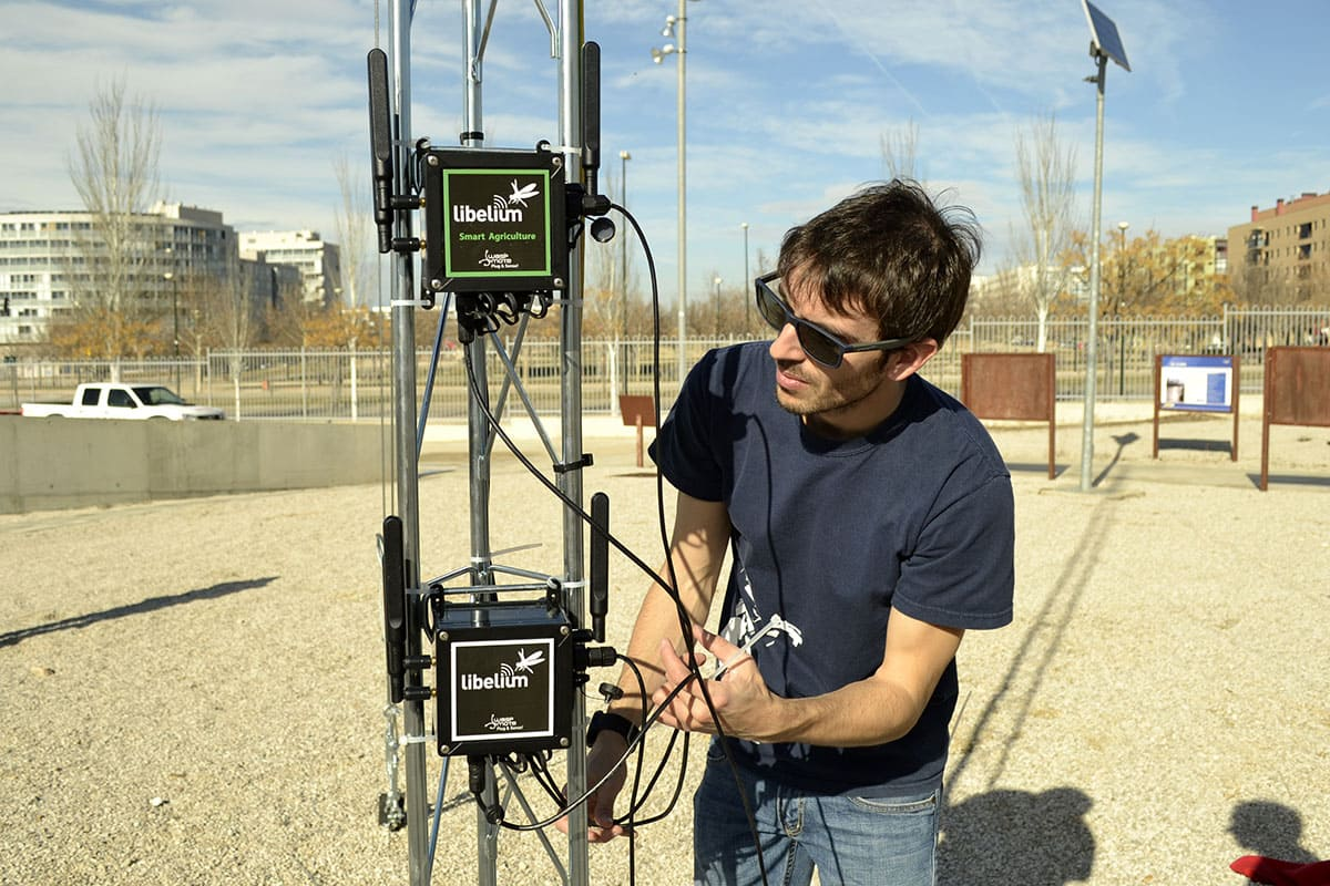 Member of Libelium's R&D Team during the installation