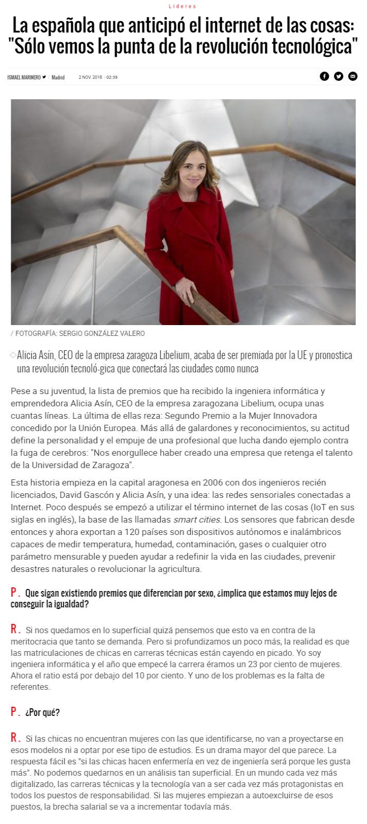 """El Mundo – La española que anticipó el internet de las cosas: """"Sólo vemos la punta de la revolución tecnológica"""""""