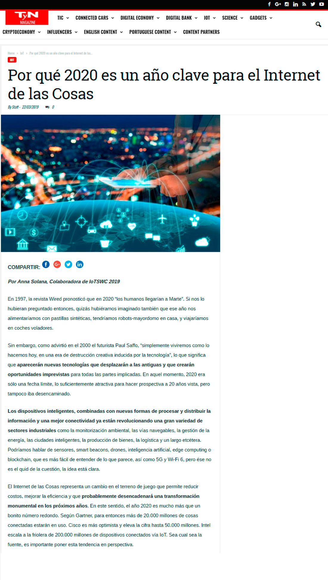TyN Magazine - Por qué 2020 es un año clave para el Internet de las Cosas