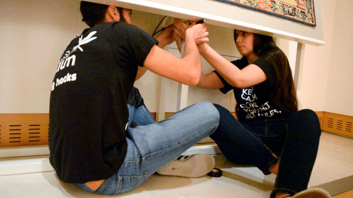 "Libelium's engineers placing a Plug&Sense! behind the ""Tapestry of Roda de Isábena"""